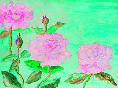 Painting - Three Pink Roses by Irina Afonskaya