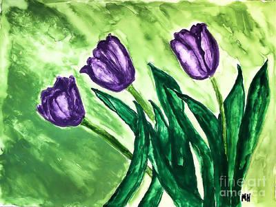 Painting - Three Pretty Tulips by Marsha Heiken