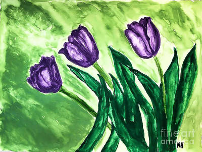 Self-taught Painting - Three Pretty Tulips by Marsha Heiken