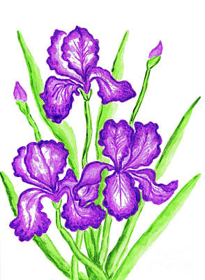 Painting - Three Purple Irises by Irina Afonskaya