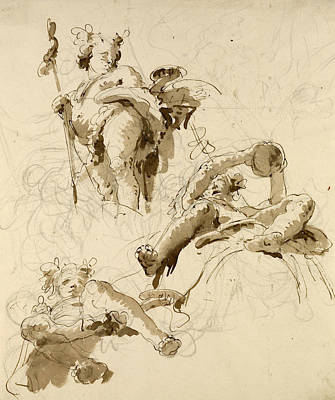 Drawing - Three Studies Of The God Bacchus by Giovanni Battista Tiepolo