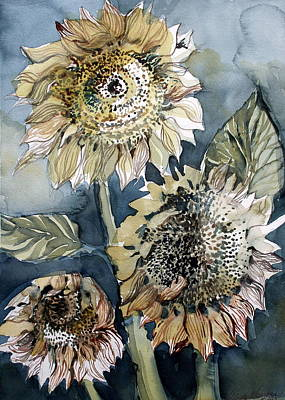 Three Sunflowers Original