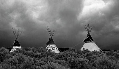 Art Print featuring the photograph Three Teepee's by Carolyn Dalessandro