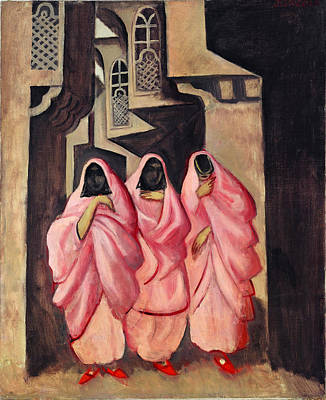 Three Women On The Street Of Baghdad Art Print by Jazeps Grosvalds