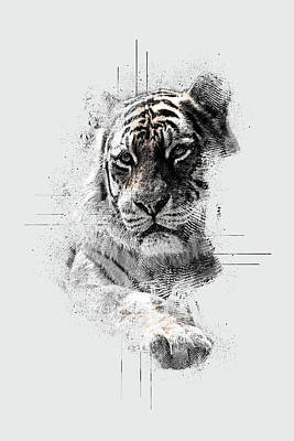 Digital Art - Tiger by Anja Wessels