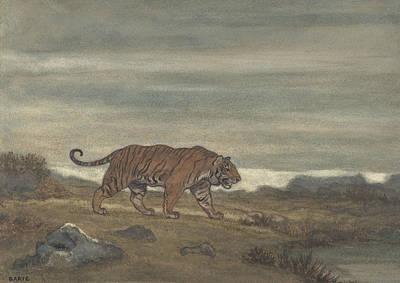 Drawing - Tiger Approaching Pool by Antoine-Louis Barye