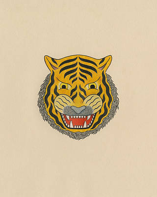 Mascot Drawing - Tiger Head by Matt Leines
