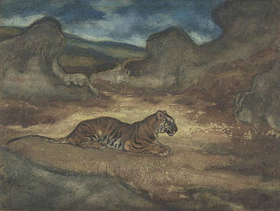 Drawing - Tiger In Landscape by Antoine-Louis Barye