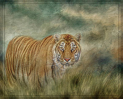 Digital Art - Tiger In The Grass by Teresa Wilson