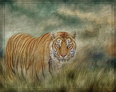 Digital Art - Tiger In The Grass by Teresa Wilson