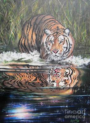 Painting - Tiger In Water Reflection by Sigrid Tune