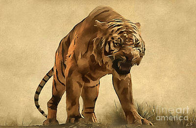 The Tiger Painting - Tiger by Sergey Lukashin