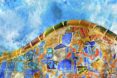 Tile Background In Parc Guell In Barcelona Spain Art Print by Brandon Bourdages