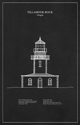 Tillamook Rock Lighthouse Digital Art - Tillamook Rock Lighthouse - Oregon  - Blueprint Drawing by Jose Elias - Sofia Pereira