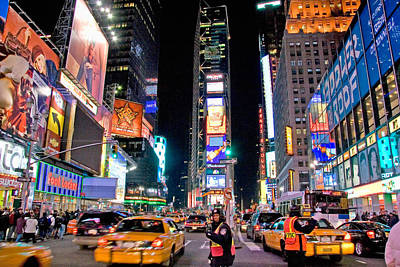 Nighttime Photograph - Times Square by June Marie Sobrito