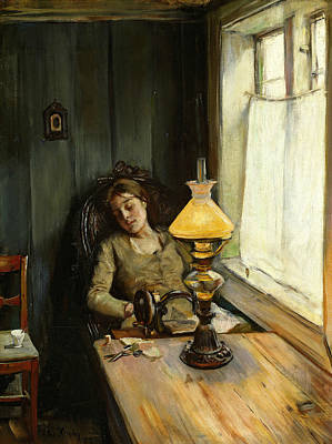 Painting - Tired by Christian Krohg