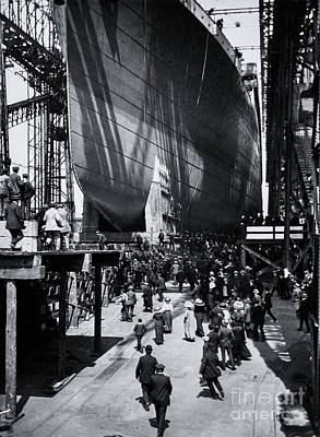 Titanic Being Launched Art Print