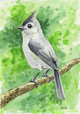 Titmouse Bird Watercolor Original by Katerina Kirilova