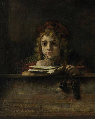 Writing Painting - Titus At His Desk by Rembrandt van Rijn