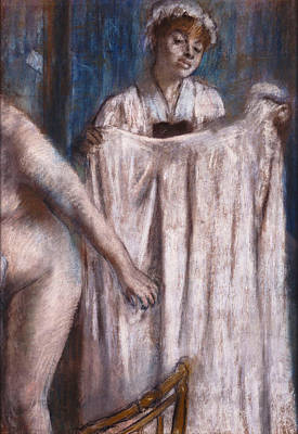 Pastel - Toilette After The Bath by Edgar Degas