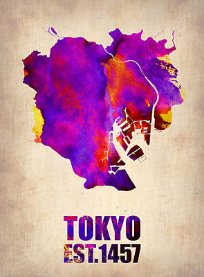 World Map Painting - Tokyo Watercolor Map 2 by Naxart Studio