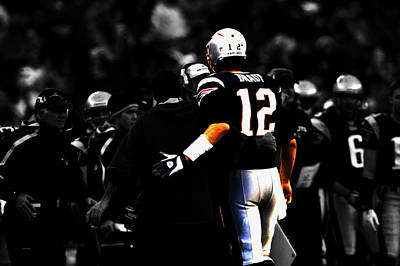 Football Hall Of Fame Mixed Media - Tom Brady And Bill Belichick by Brian Reaves