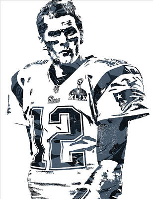 New England Mixed Media - Tom Brady New England Patriots Pixel Art 6 by Joe Hamilton