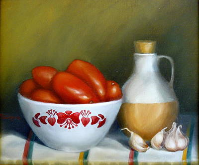 Painting - Tomatoes Garlic And Oil by Margaret Stockdale