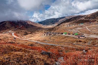 Pop Art - Top view of Kupup valley Sikkim Himalayan mountain range by Rudra Narayan Mitra