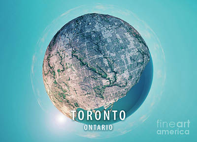 Geography Digital Art - Toronto 3d Little Planet 360-degree Sphere Panorama by Frank Ramspott