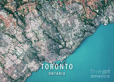 Geography Digital Art - Toronto 3d Render Satellite View Topographic Map by Frank Ramspott