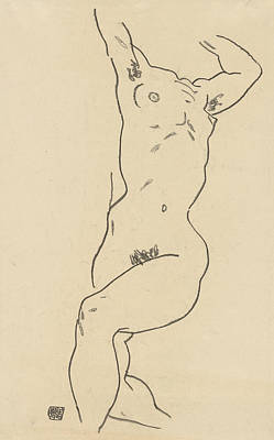 Drawing - Torso Of A Reclining Nude by Egon Schiele