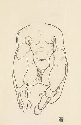 Drawing - Torso Of A Seated Woman With Boots by Egon Schiele