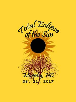 Digital Art - Total Eclipse T-shirt Art Murphy Nc by Debra and Dave Vanderlaan