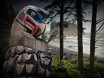 Randall Nyhof Royalty Free Images - Totem Pole in the Pacific Northwest Royalty-Free Image by Randall Nyhof