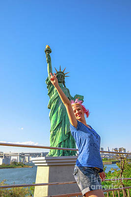 Photograph - Tourist At Statue Of Liberty by Benny Marty