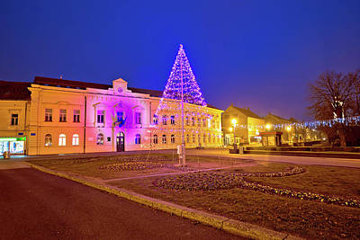 Photograph - Town Of Koprivnica Advent Time Evening View by Brch Photography