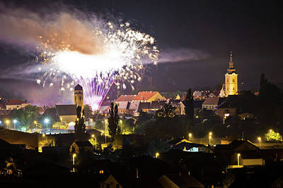 Photograph - Town Of Krizevci Fireworks Evening View by Brch Photography