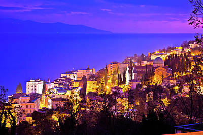 Photograph - Town Of Opatija Cathedral Evening View by Brch Photography