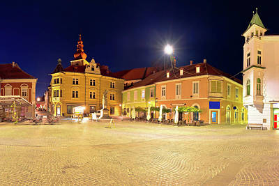 Photograph - Town Of Ptuj Historic Main Square Panoramic Evening View by Brch Photography
