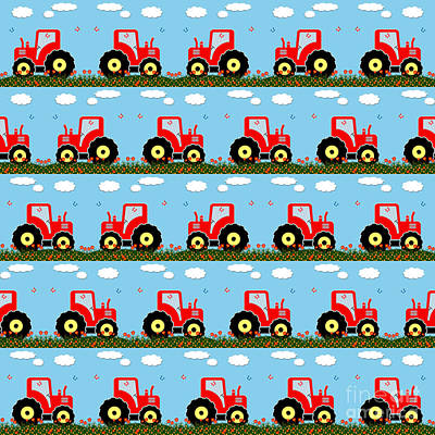 Children Mechanized Digital Art - Toy Tractor Pattern by Gaspar Avila