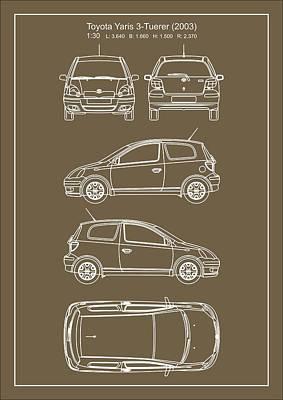 Toyota Yaris 2003 Art Print by Elena Kosvincheva