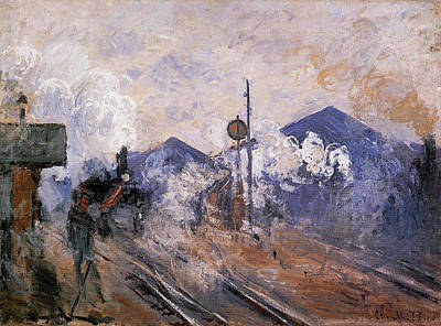 Smoke Painting - Track Coming Out Of Saint-lazare Station by Claude Monet