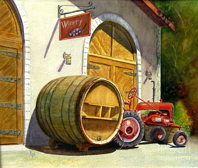 Wine Barrel Painting - Tractor Pull by Karen Fleschler