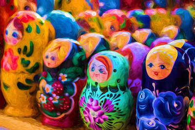 Photograph - Family Of Mother Russia Matryoshka Dolls Oil Painting Photograph by John Williams