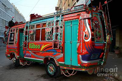 Photograph - Traditionally Decorated Pakistani Bus Art Karachi Pakistan by Imran Ahmed