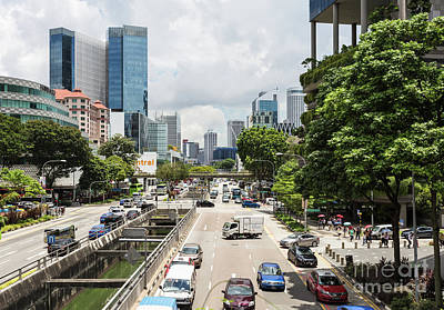 Photograph - Traffic In Singapore Chinatown On A Sunny Day by Didier Marti