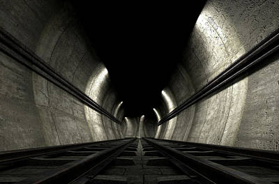 Metro Digital Art - Train Tracks And Tunnel by Allan Swart