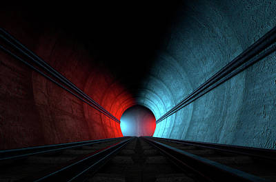 Train Tracks And Tunnel Split Choices Art Print by Allan Swart