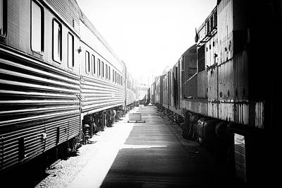 Train Yards 02 Black And White Art Print